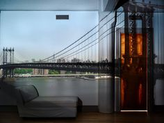 Camera Obscura: View of the Manhattan Bridge, April 30th, Morning, 2010 | From a unique collection of color photography at https://www.1stdibs.com/art/photography/color-photography/