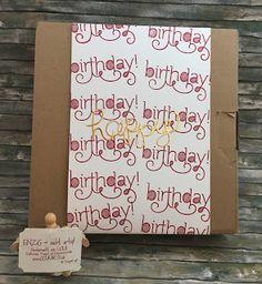 Verpackung  Ich mache ja gerne Geschenke - mir selbst zum Beispiel wenn ich den halben neuen Katalog für mich selbst bestelle aber das ist vermutlich noch eine ganz andere Geschichte. Einer guten Freundin habe ich die Tage ein Project Life Album geschenkt und natürlich brauchte ich eine gute Verpackung. Das Buch kommt in einem ganz guten braunen Karton und den habe ich einfach beklebt:   Mir hat's gefallen - und dem Geburtstagskind auch :-) Hier die gefällige Materialliste:  Geburtstag…