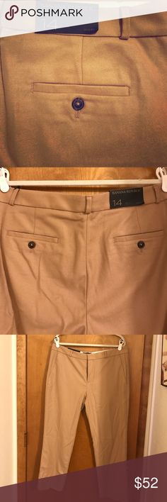 Banana Republic Avery Pants Banana Republic Avery Pants. Size 14. Mid rise. Straight through hip and thigh. Cropped leg. Has both button and hook and eye closures. Color is tan. Please note, these are brand new with tags. I apologize that they are wrinkled, but I'm terrible with an iron and did not want to ruin them. See pictures for more information. Reasonable offers welcomed. Bundle and save!! Banana Republic Pants