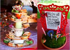 Love the decor for this Mad Hatter fundraiser!