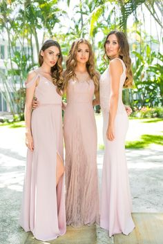 Mix and match blushing pink bridesmaids 2018 collection, find this look online Tania Olsen Designs www.taniaolsen.com.au