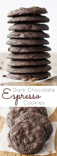 The espresso powder in these dark chocolate espresso cookies makes them extra rich, chocolatey, and delicious.   livforcake.com