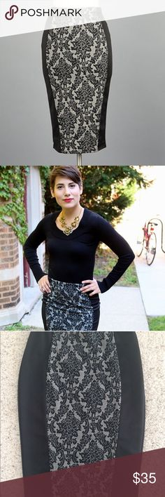 Damask Panel Stretch Pencil Skirt Super comfortable, beautiful and a bit sexy this pencil skirt features a damask print panel on the front and black solid scuba material on the back. Elastic waistband. Midi length hits at or below knee. Stretchy throughout and very comfy. Fits like juniors sizing. S-0 M- 4 L-8 Ask questions and make offers! Skirts Pencil