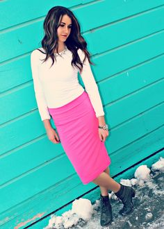 Fitted midi skirt made with polyester and spandex. Skirt has an elastic waist and fits true to size. Pink Pencil Skirt, Elastic Waist, Midi Skirt, Spandex, Fitness, Skirts, Accessories, Style, Fashion