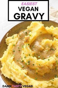 Easiest vegan gravy recipe ever.  Only 6 ingredients. No mushrooms. Great plant based recipe for thanksgiving and the holidays.  Great savory and delicious gravy to pour over mashed potatoes. #vegan #vegansidedish #veganthanksgiving #gravy #easyrecipe