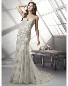 Sottero & Midgley Meerjungfrau Schöne Elegante Brautkleider aus Softnetz mit Perlenstickerei