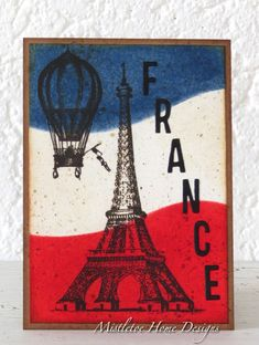 Vintage card with Eiffel tower and hot air balloon - Tim Holtz stamps