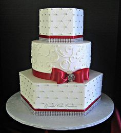 Elegant White Buttercream Wedding Cake with Red and Silver Accents | Flickr - Photo Sharing!