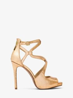 f4a5ad60a759 Michael Michael Kors Catia Metallic Embossed-Leather Sandal Leather  Sandals
