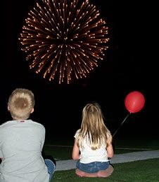 Photo of kids watching fireworks at Fire in the Sky