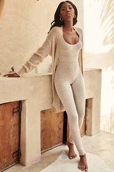 Clothing : Jumpsuits : 'Zinnia' Stone Marl Waist Cinching Jumpsuit - Clothing : Jumpsuits : 'Zinnia' Stone Marl Waist Cinching Jumpsuit Source by yveejen - Outfits Casual, Mode Outfits, Winter Outfits, Fashion Outfits, Womens Fashion, Cute Lounge Outfits, Lazy Outfits, School Outfits, Yoga Fashion