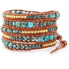 Chan Luu Turquoise Wrap Bracelet - Cp Turquoise/Natural Brown ($230) ❤ liked on Polyvore featuring jewelry, bracelets, accessories, turquoise wrap bracelet, 14k jewelry, turquoise jewellery, green turquoise jewelry and brown bangles