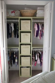 bedroom closet- boys closet- not as many baskets and add a shelf up top.