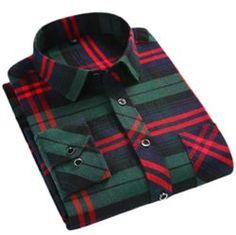 Zantt Men Fashion Plaid Check Long Sleeve Chest Pocket Button Up Shirts