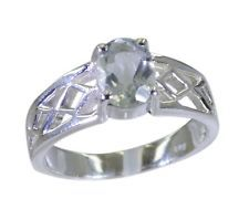 Green Amethyst 925 sterling silver symmetrical handcrafted Ring Green L-1.2in UK