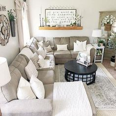 Are you searching for pictures for farmhouse living room? Check out the post right here for cool farmhouse living room pictures. This kind of farmhouse living room ideas seems completely superb. Cozy Living Rooms, Home Living Room, Apartment Living, Interior Design Living Room, Living Room Designs, Farmhouse Living Rooms, Living Room With Sectional, Living Room Corner Decor, Cozy Apartment