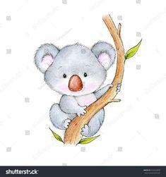 Illustrazione stock 552422836 a tema Cute Koala Bear Baby Koala, Cute Koala Bear, Bear Paintings, Happy Paintings, Bear Cartoon, Cute Cartoon, Koala Craft, Koala Tattoo, Pug Dogs