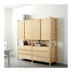 ivar 3 section shelving unit w cabinets pine pine i like lamp and ikea cabinets. Black Bedroom Furniture Sets. Home Design Ideas