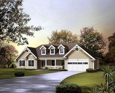House Plan 95850   Country   Ranch    Plan with 1568 Sq. Ft., 3 Bedrooms, 2 Bathrooms, 2 Car Garage