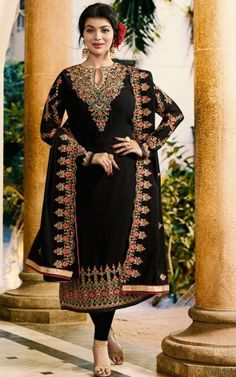 Buy Ayesha Takia Black Faux Georgette Heavy Embroidery on Neck and Sleeve with Embroidery Dupatta Salwar Kameez - Lilots Fashion Indian Designer Suits, Indian Suits, Indian Dresses, Designer Wear, Punjabi Salwar Suits, Salwar Suits Online, Salwar Kameez Online, Latest Salwar Suit Designs, Salwar Neck Designs