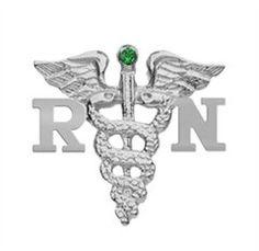 NursingPin - Registered Nurse RN Graduation Nursing Pin with Emerald in Silver * For more information, visit image link.
