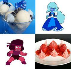 Recipe: (Steven Universe Dessert Series, Pt. 4&5) Sapphire's Blueberry Quark Sundae & Ruby's Strawberry Pink Peppercorn Flambé   Pretty Cake Machine
