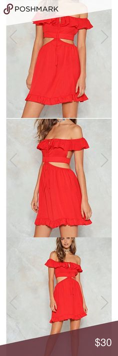 Red dress Nasty gal open back and midriff dress. Super cute, I'm only selling it because the band is too tight on me. Nasty Gal Dresses