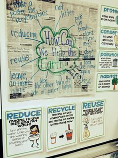 Love this anchor chart for learning to reduce reuse and recycle.