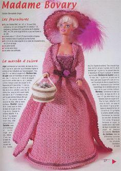 Vestido de Época de Crochê Para Barbie  Com Gráfico
