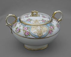 #Noritake jewelled sugar bowl & lid, #vintage china, footed, 1908-18 FREE post UK