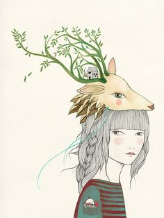 i-love-art:  Deer Girl / ladydesidia