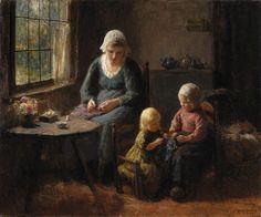 Afternoon Sewing Lesson, Bernard Pothast. Dutch (1882-1966)