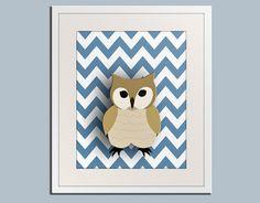 Owl nursery art for children Chevron zigzag print 11x14 by Wallfry, $22.00