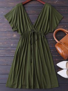 Plunge V Back Drawstring Dress - Army Green Xl Simple Dresses, Cute Dresses, Casual Dresses, Casual Outfits, Summer Dresses, Girls Fashion Clothes, Fashion Dresses, Clothes For Women, Moda Mania