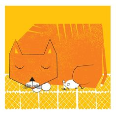 Naptime, Cat & Mouse art print - hand screenprinted limited edition LP frame size