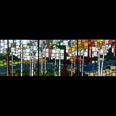 Stained Glass. Love the use of squares that depict trees during the 3 seasons.