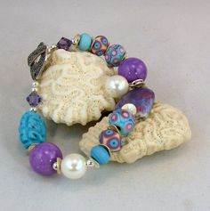REMINDER: USE PEACH LAMPWORK, GUNMETAL AND LIGHT JADE/SAGE GREEN............................Turquoise Lampwork and Pearl Bracelet by carolmurray on Etsy, $70.00