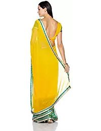 ca4cc1319881c Womanista Women s Printed Faux Georgette Saree with Blouse Piece Womanista  is a value brand for sarees. Our range is sharply priced and offers an  array of ...