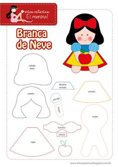 ARTE COM QUIANE - Paps,Moldes,E.V.A,Feltro,Costuras,Fofuchas 3D: Molde Branca De Neve de Feltro