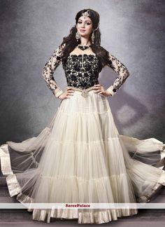 Ayesha Takia Style Off White And Black Net Anarkali Suit