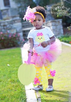 Baby Girl Easter Outfit  Hot Pink Chickie  by DarlingLittleBowShop, $41.95...love this for Ella