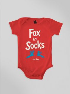 Baby Fox In Socks Onesie-RED-12M