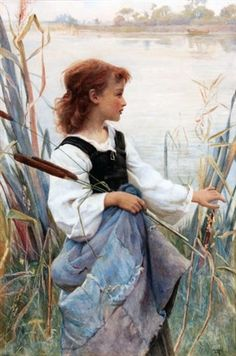 """""""Girl Holding Reeds"""" -- by Frederick Morgan (British, 1856–1927)"""