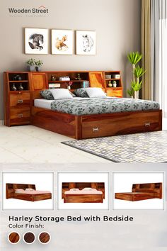 For the ones who are always looking for an 'extra' in everything, the Harley bed with storage is the marvellous bed which provides ample storage space and a perfect full-size sleeping area. The headboard extends from both the side thus this double bed has a sufficient number of cabinets and shelves where you can assemble your essentials efficiently.  #woodenstreet #furniturebondedwithlove #beddingset #luxurylifestyle #vocalforlocal #dreambed #interiordesigner #bedroomstyling #bedroom Box Bed Design, Bedroom Bed Design, Bedroom Furniture Design, Home Room Design, Bed Furniture, Bedroom Ideas, Wooden Bed With Storage, Bed Designs With Storage, Double Bed With Storage