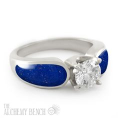 """""""Starry Night - Radiance"""" engagement ring with lapis lazuli inlay and a one carat center diamond set into white gold. 