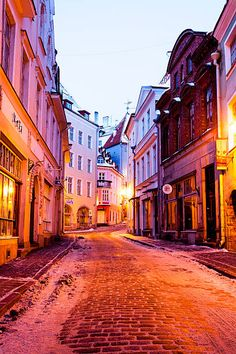Street in the Old Town of Tallinn, Estonia