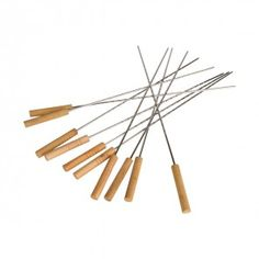 This modish seeing skewer set consists of 10 pieces. It is a made up of sTeal and it is highly robust. The design of the skewer will keep food steady. It has wooden holder with suitable grips for grasping it properly. So bring it and start using. Barbecue Grill, Fondue Forks, Skewers, Tableware, Wood, Design, Kabobs, Dinnerware, Woodwind Instrument