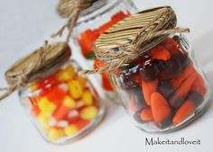 Save the baby food jars! Decorate and fill with treats for luncheon table toppers, baby showers, dinner parties...