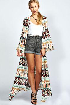 Anike Multi Maxi Kimono at boohoo.com