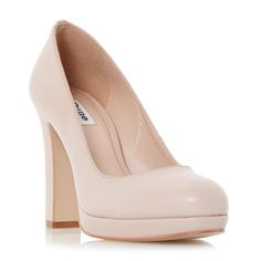 4.17 .787 DUNE LADIES ARIA - Almond Toe Slim Platform Pump - nude and black| Dune Shoes Online